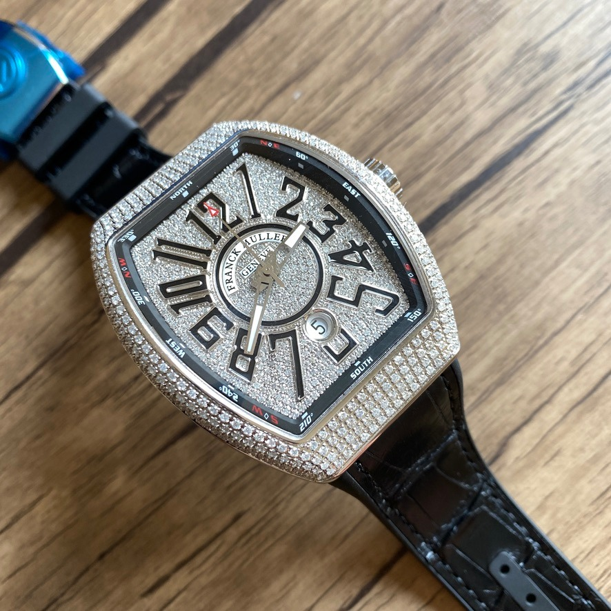 Franck Muller Vanguard V45 Steel Case with diamonds aftermarket