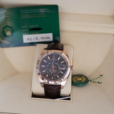 Rolex Sky-Dweller Rose Gold Leather Strap Watch - 326135 Grey Dial